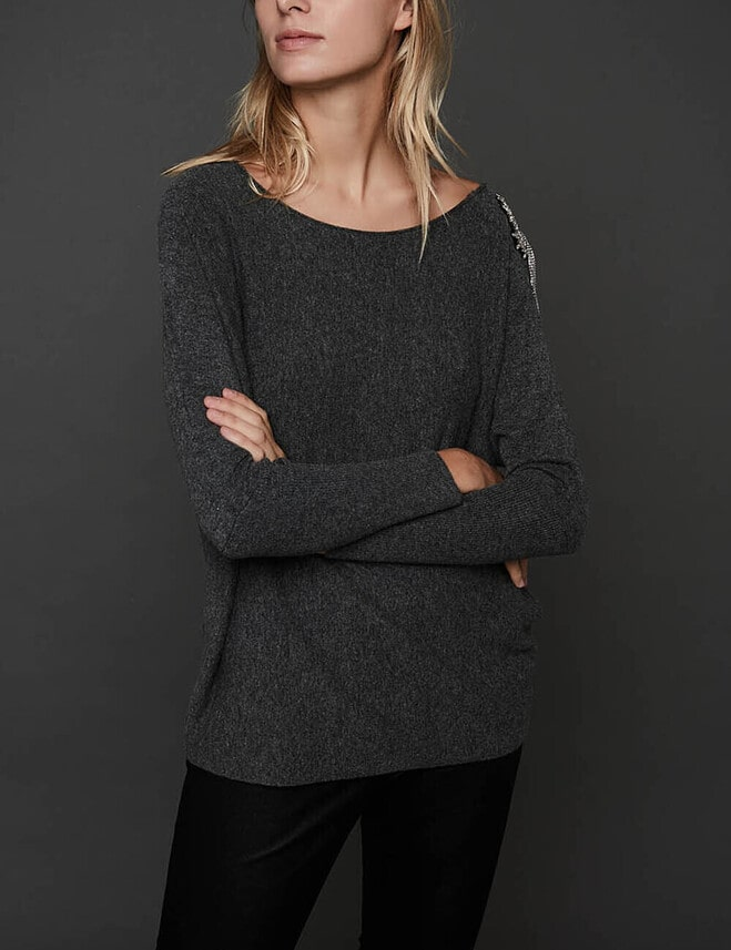 Pull Pensee Strass : Manches Chauve-Souris